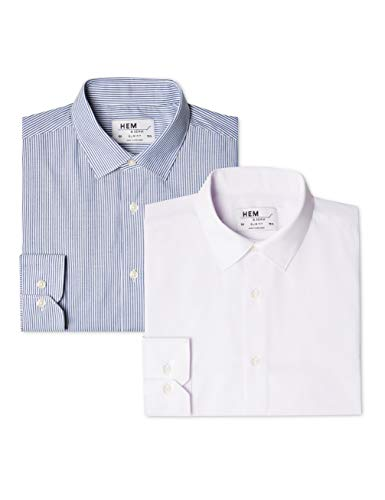 Hem & Seam Herren Formales gestreiftes Slim Fit-Hemd, 2er Pack, Mehrfarbig (Bengal Blue / White), 56 (Herstellergröße: 17) (Bengal Hemd Gestreiften)