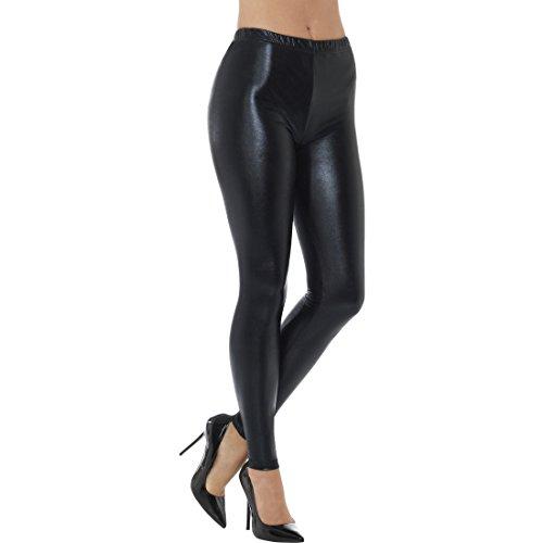 Amakando Metallic Leggings - S (34/36) - Leggins Wetlook Glanzleggings Blickdicht Shiny Tights Lederoptik 80er 90er Jahre Mode Outfit Schwarze Disco Pants (Disco-mode 80 70)