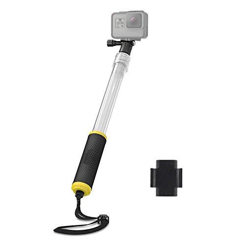 Galleria fotografica Asta telescopica Tekcam trasparente impugnatura galleggiante monopiede allungabile selfie stick da 35,6cm a 53,3cm con telecomando supporto a clip per GoPro 6Apeman Akaso Yi 4K Action Camera