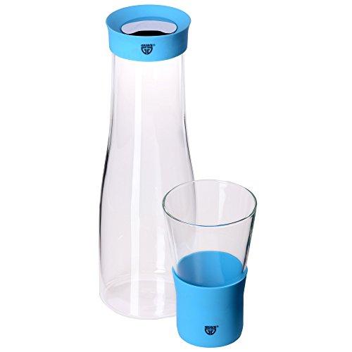 GRÄWE Glaskaraffe 1 Liter mit Trinkglas 0,3 Liter - Ausgießer aus Silikon, blau, Verschluss aus Edelstahl