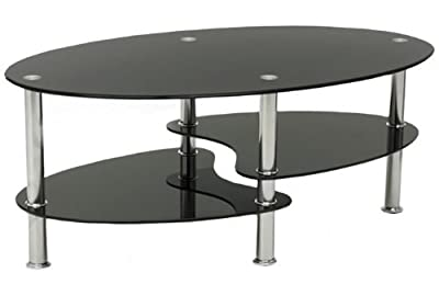 Cara Black Glass Coffee Table with Chrome Legs - inexpensive UK light shop.