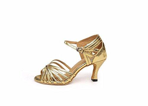 SQIAO-X- Oro Argento latino scarpe da ballo donna bassa e adulto scarpe da ballo Square Dance scarpe, High-Heeled terreno morbido L'oro 6cm (all'aperto)