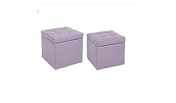 Bizzotto set 2 pouf contenitori bellville malva: amazon.it: casa e