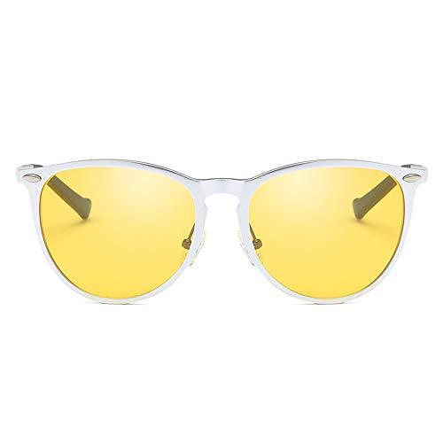 GXM-FR Polarisierte Sonnenbrillen, Tag- und Nachtfahrten, Angeln, Outdoor-Sportbrillen, Nachtsichtbrillen für Männer und Frauen mit Anti-Blu-Ray-UV400-Schutzbrille,Silver