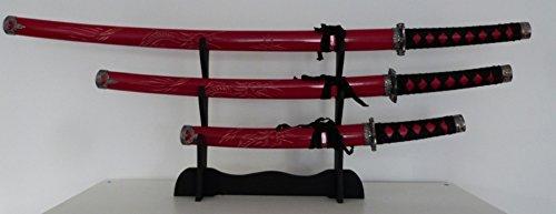 Lote DE 3, diseño DE KATANA negro japonés-Abrecartas, diseño DE espada soporte (no aiguisés)