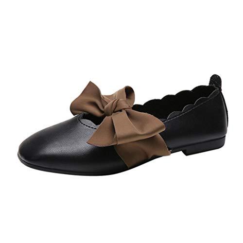 UFACE Damen Frauen Bow spitz Flache Flache Schuhe flach Bowknot Wies Flache Flache Ferse Slip auf Schuhe Einzelne Schuhe(Schwarz,39EU)