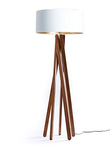 Tripod Moderne Stehleuchte (Hochwertige Design Stehlampe Tripod mit Textil Schirm aus Chintz in Weiß Gold und Stativ/Gestell aus dunklem Holz Echtholz Nussbaum | H= 160cm | Stehleuchte | Handgefertigte Leuchte)
