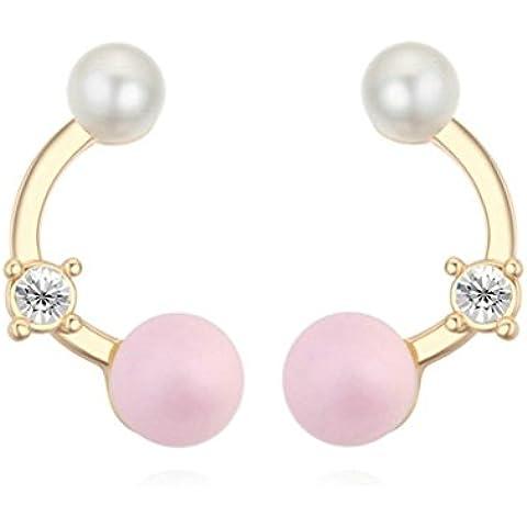 KnSam Donne Placcato in Oro Orecchini a Perno Multicolor Half Moon Pearl Crystal Zirconia Cubica [Novità Orecchini]