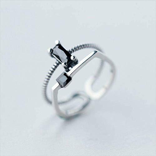 K - Rings 925 Silber Ring Weiblichen Thai Silber Persönlichkeit Double Twist Square Black Diamond Offenen Ring Ring Zeigefinger Ring, S925 Silberring