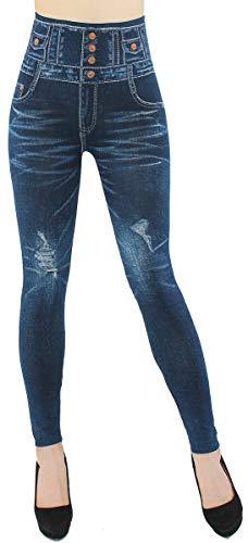 High Waist Leggings Damen Jeggings Hochbund Leggins - JL060 (JL281-Destroyed | One Size Gr.36-38)