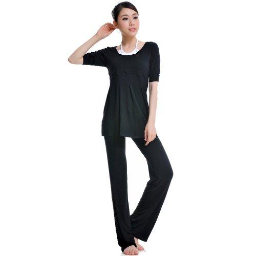3 Colors Genuine 95% Modal soft sports clothes yoga pants Women's set (2 Pieces) nero - nero