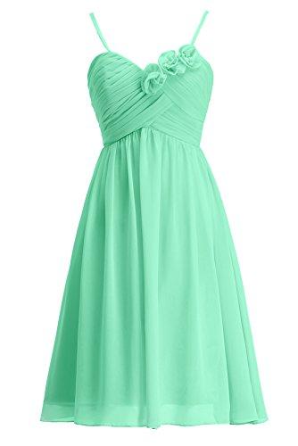 KekeHouse® Robe à fines bretelle Courte de Cérémonie Soirée Mariage Femme fille robe de demoiselle d'honneur Menthe vert