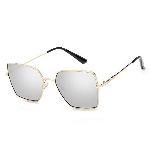 CFLFDC Sonnenbrillen Extra Große Polarisierte Sonnenbrille Frau Lady Sonnenbrille 100% Uv400 Schutzbrille Persönlichkeit 2361 Goldener Rahmen weißes Quecksilber (Taschentuch)