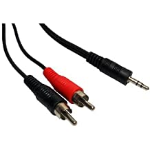 World of Data� AudioPRO 15m 3.5mm Jack to 2 x RCA Cable - Premium Quality - Audio - Stereo - Male to Male - Cinch - Phono - Lead