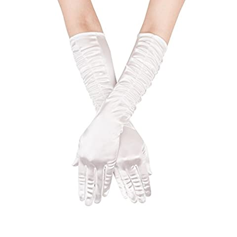GLV043 Long Ivory Womens Satin Gloves with Pleated Detail