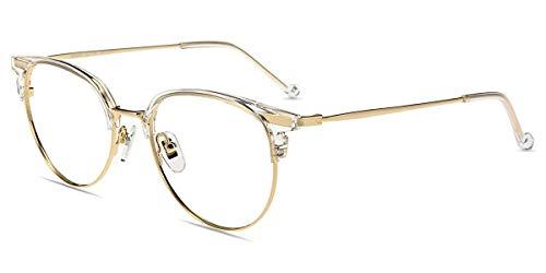 Firmoo Panto Blaulichtfilter Brille Anti Blaulicht Computer Brille ohne Sehstärke Damen, Anti Augenmüdigkeit Blendfrei Kratzfeste Nerdbrille, Blaulichtblockierende Gläser (Transparent-Gold)