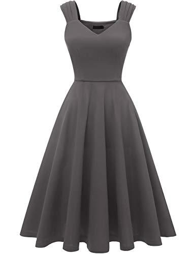 Dresstells Damen 1950er Midi Rockabilly Kleid Vintage V-Ausschnitt Cocktailkleid Faltenrock Darkgrey S