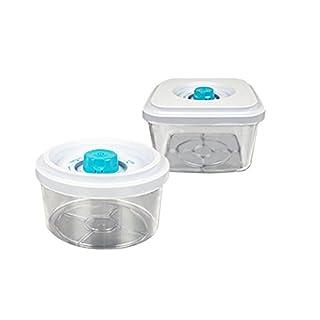 Vakuumdosen Set - eckig und rund - passend für die Vakuumiergeräte F-110, F-210, P-250, P-355 - Inhalt ca. 0,6 Liter / 2,5 Liter - 1 x Vakuumbehälter rund und 1 x Vakuumbehälter eckig