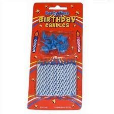 PARTY TIME Bougies d'anniversaire 24 avec supports Bleu