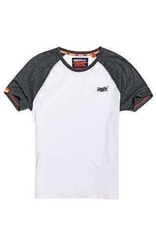 Über Baseball-t-shirt (Superdry Herren ORANGE Label Baseball S/S Tee T-Shirt, Weiß (Optic 01C), Medium)
