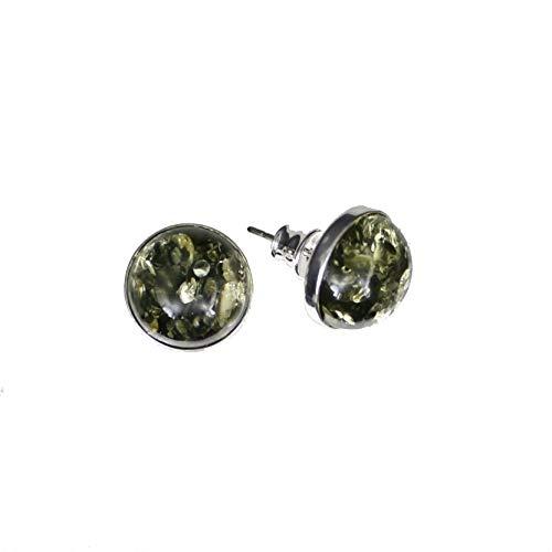 Ohrringe mit Natur Bernstein, runde grüne Ohrstecker Fassung 925/000 Sterling Silber von Artisana-Schmuck