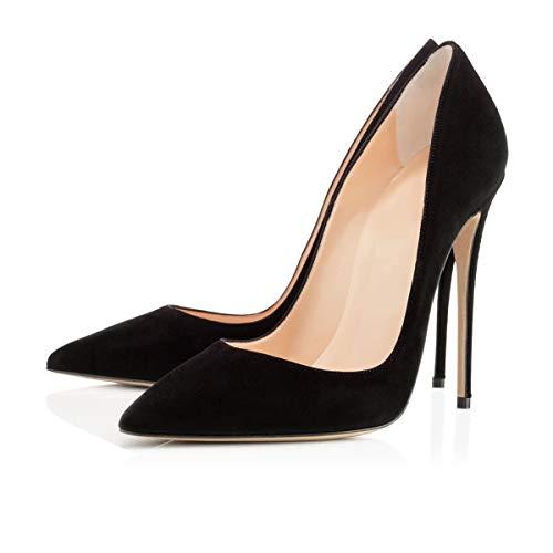 Onlymaker Women's Classic Pointed Toe Genuine Leather High Heels Slip On Stiletto Pumps Dress High Heel Modern Basic Pump Stiletto Black Suede EU40 Black Suede Pointed Toe Pump