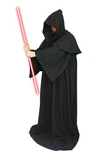 (The Dragons Den Deluxe schwarz Jedi Luke Darth Bademäntel Star Wars Fancy Kleid Gr. Medium,)