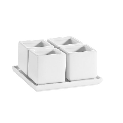 CAC China DT-SQ4 2-Ounce Porcelain 4 Square Bowls on Square Tray, 2 by 2-Inch, Super White, Box of 10