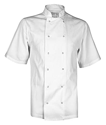 Chef's Short Sleeve Jacket Shirt White or Black, XS-4XL (L, White)