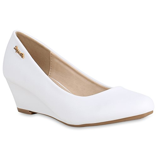 Stiefelparadies Damen Schuhe Keilpumps Leder-Optik Pumps Basic Wedges Keilabsatz 156581 Weiss Basic 42 Flandell