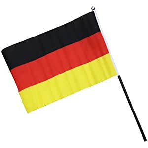 100 x deutschland fahne mit stab 15x22cm wm fanartikel sport freizeit. Black Bedroom Furniture Sets. Home Design Ideas