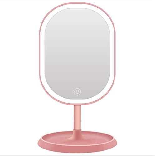 Mirror Kostüm Ball - Pn&cc LED Schminkspiegel mit Smart Touch/Sockelschließfach/USB-Ladefunktion / 90 ° drehbarer Schminktisch, geeignet für Desktop-Büroreisen,Pink