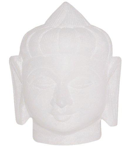 WINTER -Angebote-Woche - SouvNear Buddhakopf Statue Feng Shui Deko - Weiß Stein Buddha Figuren - Religiöse Buddha figur Skulptur - Glücksbringer Buddhismus Antik-Stil Steinfigur geschenke und Zuhause Dekor