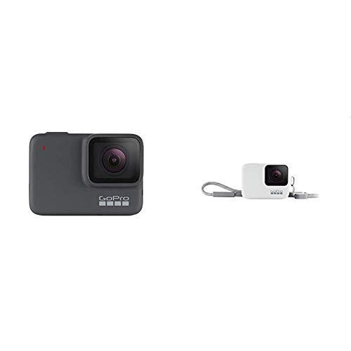 GoPro HERO7 Silver - Cámara de acción (sumergible hasta 10 m, pantalla táctil, vídeo 4K HD, fotos de 10 MP) color gris + Funda para cámara GoPro (incluye cordón) blanco