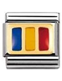 Nomination Composable Classic Flags of Europe France Stainless Steel, Enamel and 18K Gold