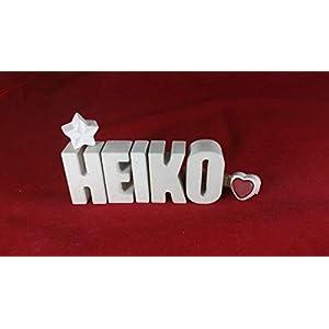 Beton, Steinguss Buchstaben 3D Deko Namen HEIKO mit Stern und Herzklammer als Geschenk verpackt! Ein ausgefallenes…