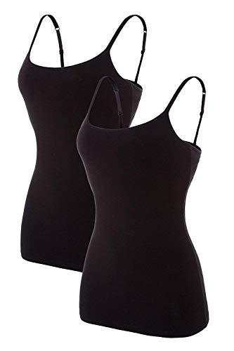 Anwell Unterhemd Für Frauen Basic Shirt Baumwolle Tanktops Packungen Schwarz 2 - Basic Shelf Bra Camisole