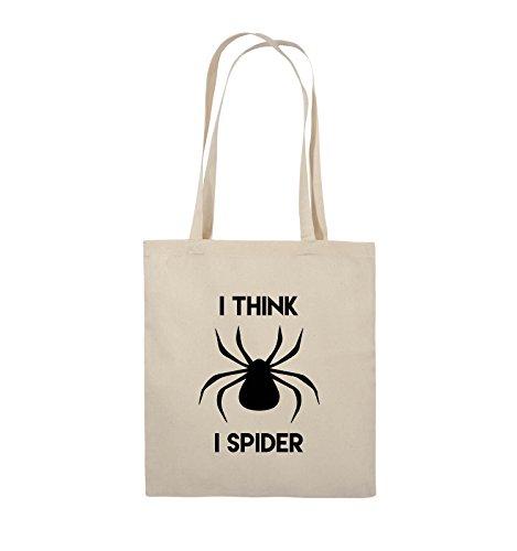 Borse A Tracolla - Penso Che Io Spider - Borsa Di Juta - Manico Lungo - 38x42cm - Colore: Nero / Rosa Naturale / Nero