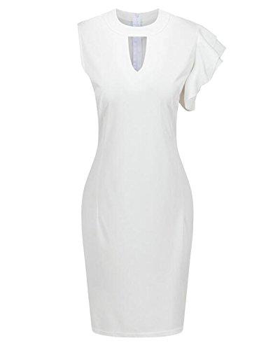 Auxo Sexy Femme Profondément V Creux Sans Manche Irrégulier Partie Zipper Mini Robe de Cocktail Blanc