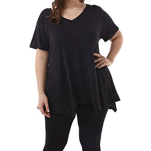 VJGOAL Damen T-Shirt, Frauen Große Größen Elegant Einfach Kurze Ärmel Solid Freizeit Top Unregelmäßiger Saum Alltagskleidung(Schwarz,44)
