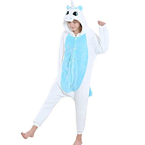 GWELL Pyjama Kostüm Winter Schlafanzug Tierkostüm Jumpsuit Overall Tieroutfit Unisex Erwachsene Cosplay blau einhorn M
