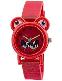 Tikkers Kinder Quarz-Uhr mit Rot Zifferblatt Analog-Anzeige und rotem Silikon Gurt tk0096