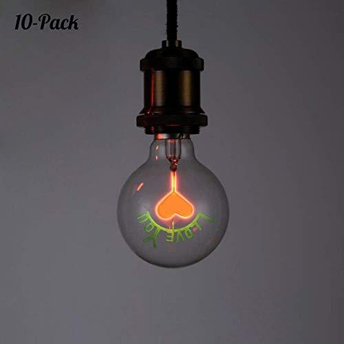 lamme Birne, Flammeneffekt Glühbirne I Love You, 150 Lumens, 1300K wahre Feuer Farbe, Dekorative Lampe für Weihnachten, Halloween, Festival, Party, 10er-Pack [Energieklasse A+] ()
