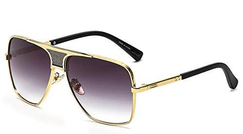 Sonnenbrille Dampf Quadratische Sonnenbrille Männer Oben Flach Metall Schrittweise Streuscheibe, Schwarz Gold European American Retro Sonnenbrille Luxus Männlich