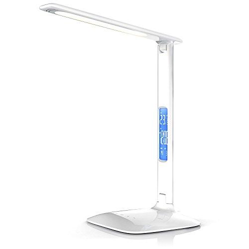 Elinkume 4W Lampe de Bureau Moderne Design 14 * 3528 PCS LED Lumière de Bureau Blanche 6000K Lampe de Bureau avec Affichage Heure, calendrier,reveil,temperature
