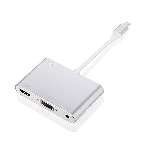 [3-IN-1 Plug & Play] Lightning à HDMI et VGA et adaptateur audio, VGA Audio Hdmi convertisseur vidéo avec Micro USB câble de charge pour iphone / ipad