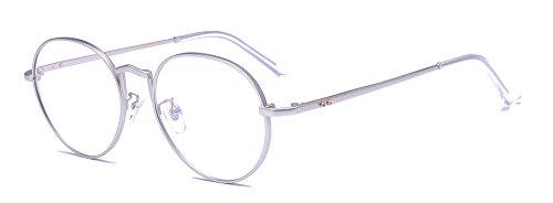 ALWAYSUV Runde Rahmen Hoch Steg Klare Gläser Metallgestell Klassische Vintage Brillenfassung Dekobrille (Silber)
