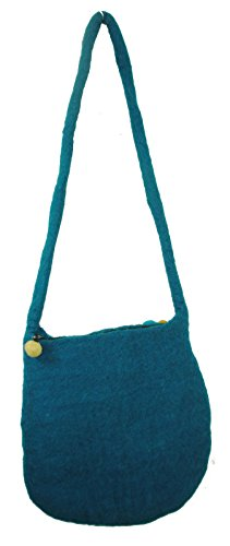 Fairtrade Multicoloured Helle Funky Hippy Wollfilz Kugel Umhängetasche Nepal N105 Blau
