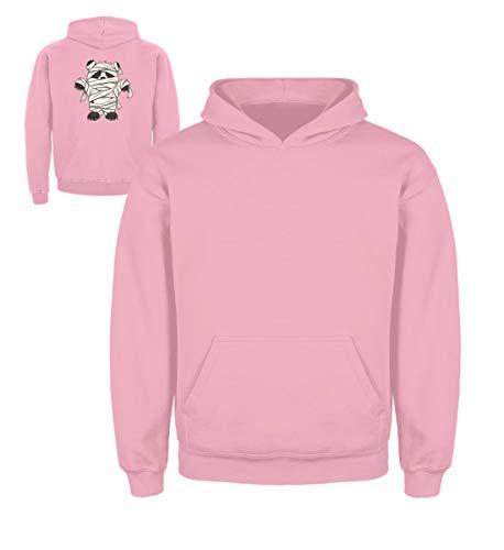 Shirtee Kleiner Pandabär mit Mumie Kostüm - Halloween Design für alle Panda Fans und Bären Freunde - Kinder Hoodie -3/4 (98/104)-Baby Pink (Kleine Drei Bären, Halloween Kostüm)
