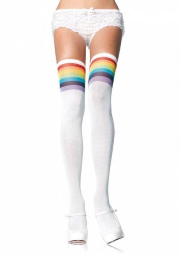 Leg Avenue Damen Over Knee Strümpfe quer gestreift weiß und bunt Einheitsgröße ca. 38 bis 40